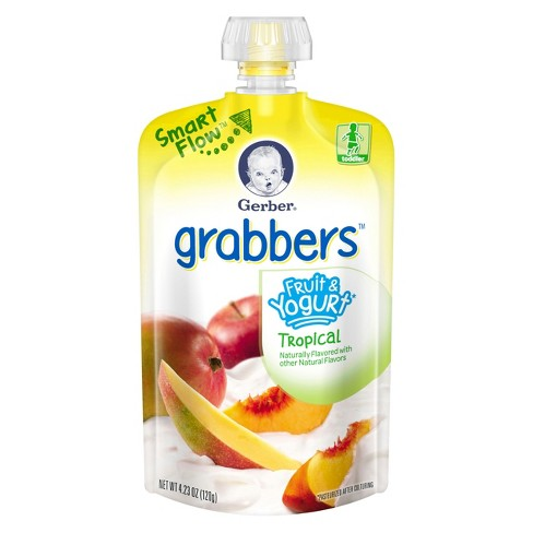 Gerber Grabbers Fruit & Yogurt Squeezable Puree Pouch Tropical - 4.23oz - image 1 of 2