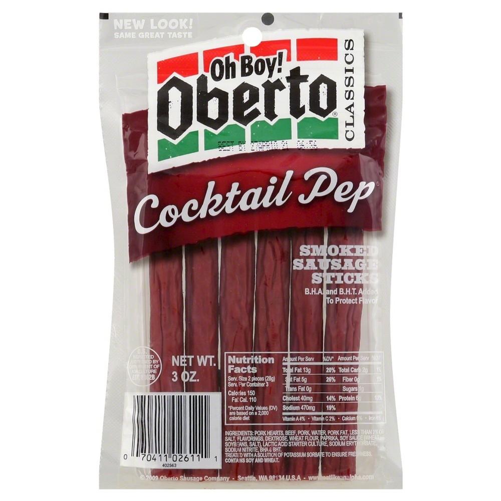 Oberto Cocktail Pep Smoked Sausage Sticks - 3oz
