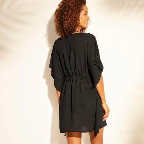 0f3a21096699 Women's Lace Trim Tie Front Kimono Cover Up - Kona Sol™ Black : Target