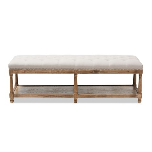 Celeste French Country Weathered Oak Linen Upholstered Ottoman Bench Beige Baxton Studio Target
