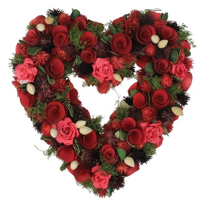 """Northlight 13.7"""" Red Rose Heart Shaped Floral Artificial Valentine's Day Wreath - Unlit"""