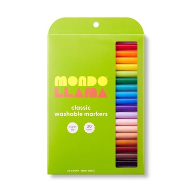 20ct Washable Markers Super Tip Classic Colors - Mondo Llama™