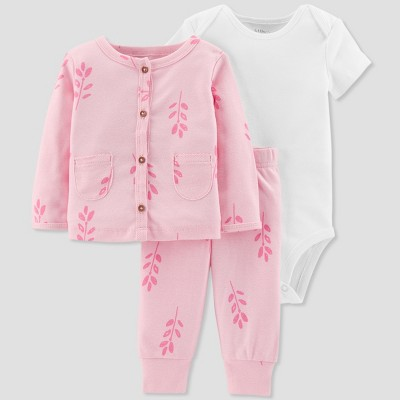 Baby Girls' 3pc Floral Cardigan Set - Little Planet by Carter's Pink 24M