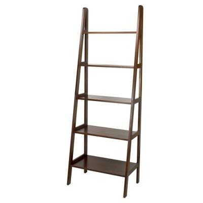 """72"""" 5 Shelf Ladder Bookcase Warm Brown - Flora Home"""