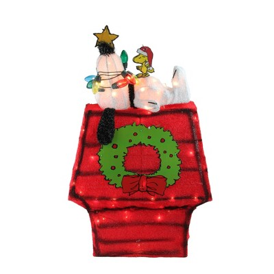 """Northlight 18"""" Lighted Snoopy on Dog House Outdoor Christmas Yard Decoration"""