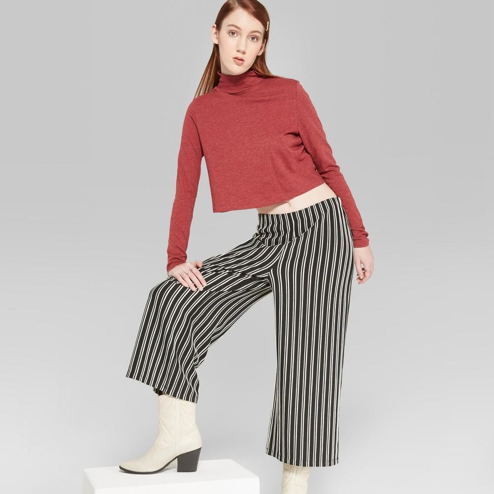 Women's Striped Wideleg Soft Fashion Pants - Wild Fable Black/White L