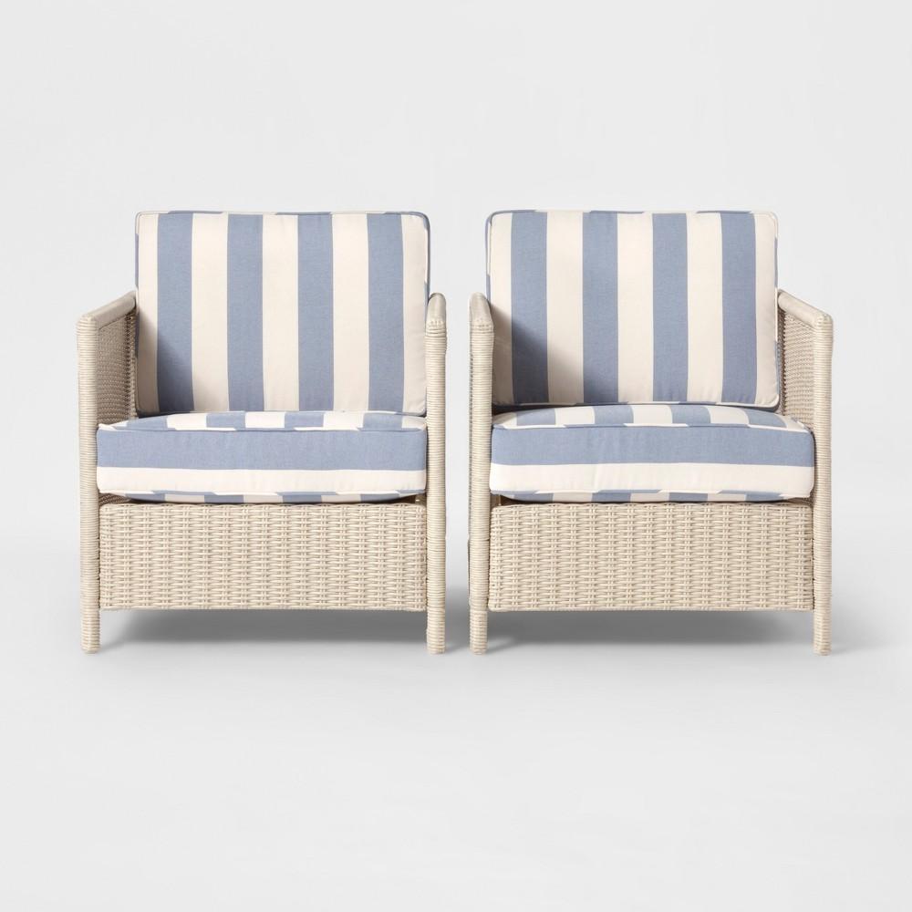 Monroe 2pk Wicker Motion Patio Club Chair Blue/White - Threshold