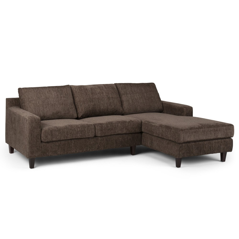 Calsy Sectional Deep Umber Brown Chenille Look Fabric - Wyndenhall