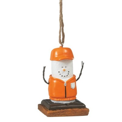"""Ganz 3"""" S'mores Marshmallow in Hunting Gear Chocolate Sandwich Christmas Ornament - Orange/White"""