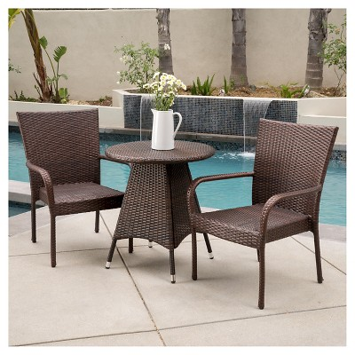 Nelson 3 Piece Wicker Patio Bistro Set   Brown   Christopher Knight Home :  Target