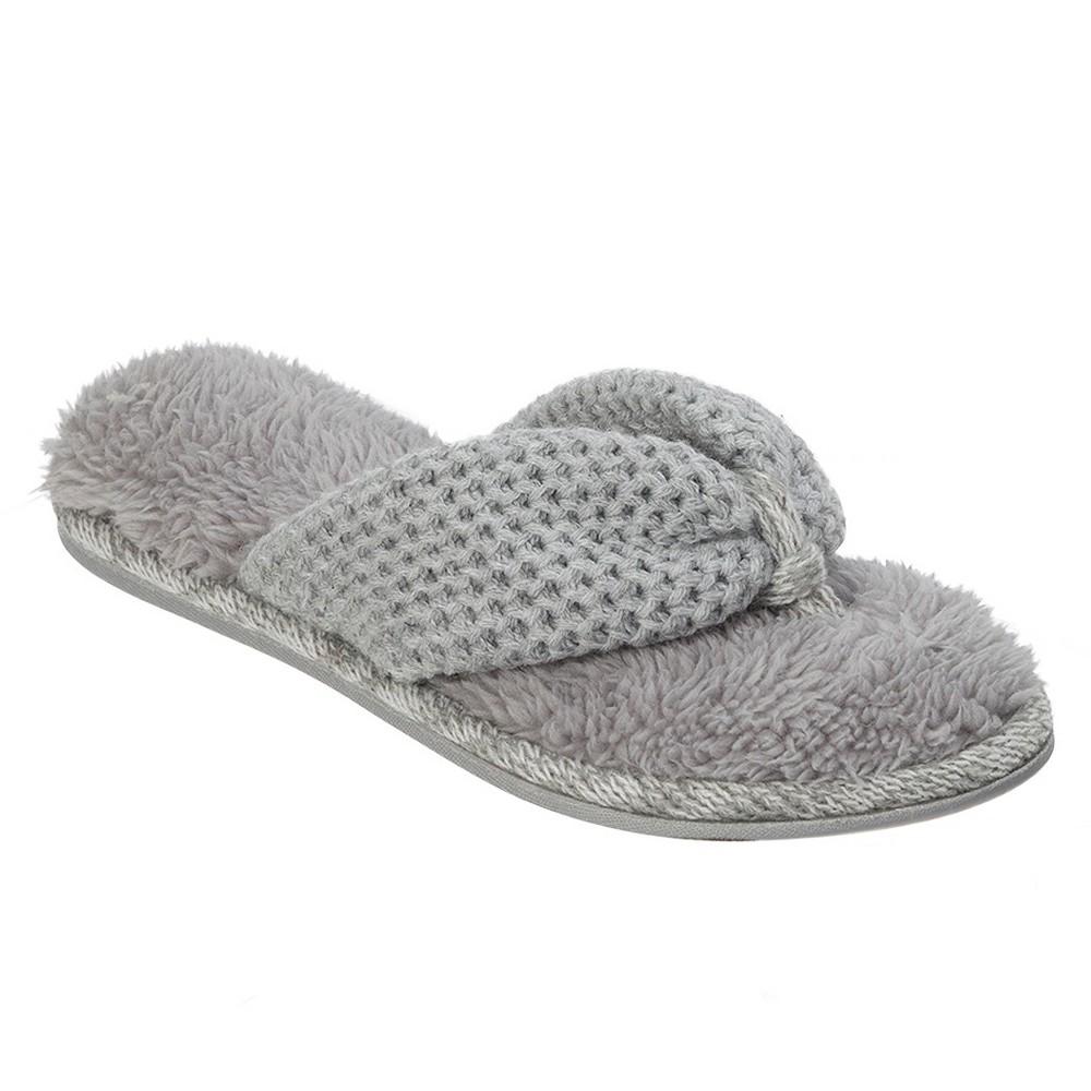 Women's dluxe by dearfoams Verona Thong Slippers - Gray XL(11-12)