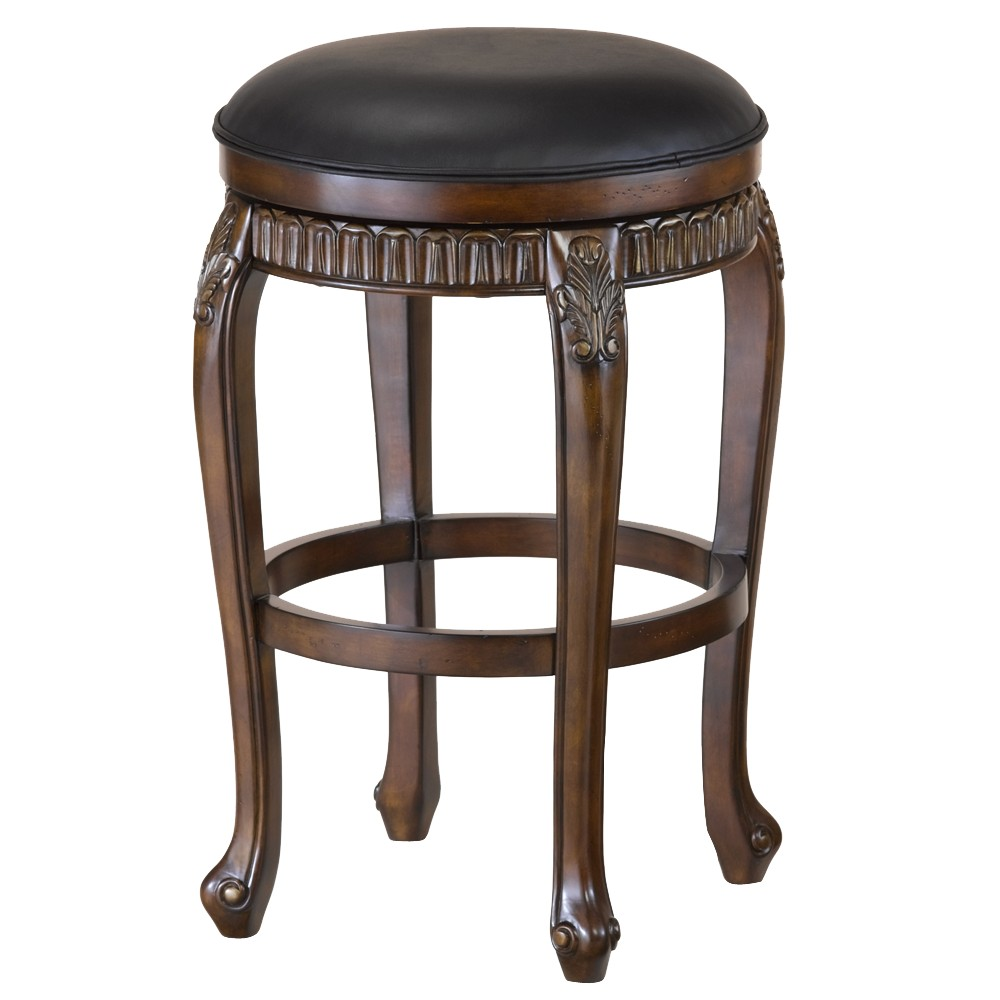 Fleur de Lis Backless 24 Counter Stool Hardwood/Cherry - Hillsdale Furniture, Distressed Cherry W Gold Highlights