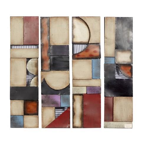 "(Set of 4) 31"" x 8"" Modern Iron and Wood Abstract Wall Art - Olivia & May - image 1 of 4"