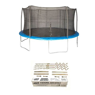 JumpKing 15 Foot Trampoline with Net and XDP Recreation Metal Ground Anchor Kit
