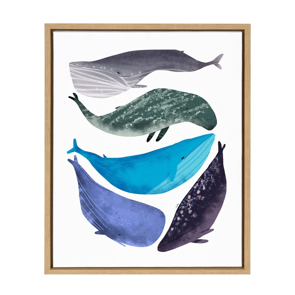 """Image of """"18"""""""" x 24"""""""" Sylvie Whales Framed Canvas Wall Décor By Lida Larina Natural - Kate and Laurel, Blue"""""""