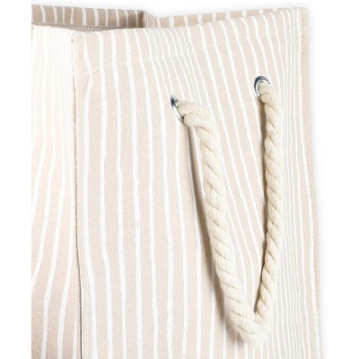 Juvale Collapsible Laundry Hamper with Handles, Stripes (15 x 24 x 11 Inches)
