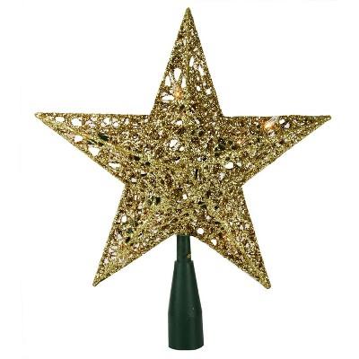 "Kurt S. Adler 10"" Lighted Sparkling Gold Sequin Star Christmas Tree Topper - Clear Lights"
