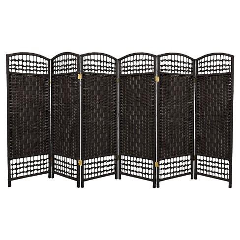 4 Ft Tall Fiber Weave Room Divider Black 6 Panels Oriental