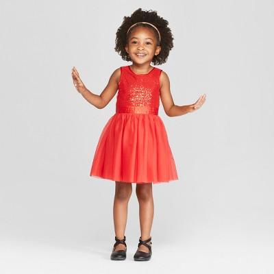 Toddler Girls' Sleeveless Sequin A-Line Dress - Cat & Jack™ Red 5T