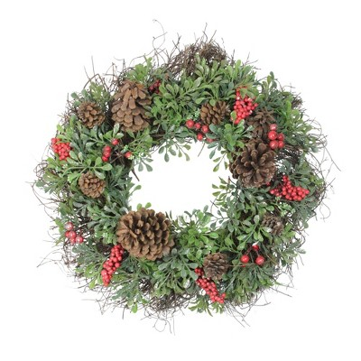 """Northlight 24"""" Unlit Glittered Artificial Boxwood, Pine Cone and Red Berry Christmas Wreath"""