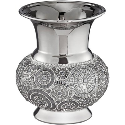 "Dahlia Studios Silver 9 1/2"" High Ceramic Vase"