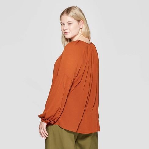6837bc2994 Women s Plus Size Long Sleeve V-Neck Poet Blouse - Ava   Viv™ Brown 3X    Target
