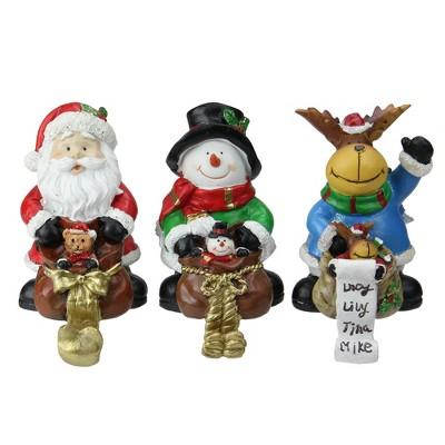 "Northlight Set of 3 Santa, Snowman and Reindeer Christmas Stocking Holders 6.5"""