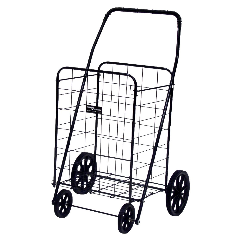 Narita Jumbo-A Shopping Cart, Black This quality four-wheel Easy Wheels Shopping Cart is well-suited for shopping, laundry and hundreds of other purposes. The cart is coated with a highly durable epoxy finish, making it both durable and functional. Featuring hardened plastic wheels, this Jumbo-A Black Shopping Cart, 1 ct, is made from heavy-gauge steel for durability and will last for years. This four-wheel shopping cart features a fold flat design for easy storage when not in use. Easy Wheels Jumbo-A Shopping Cart: Made of heavy gauge steel for durability Hardened plastic wheels Folds flat for easy storage