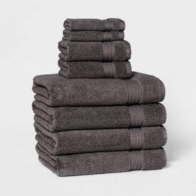 8pc Bath Towel Set Dark Gray - Threshold Signature™