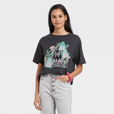 Women's Def Leppard Floral Print Short Sleeve Graphic T-Shirt - Vintage Black