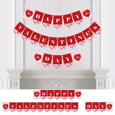 Big Dot of Happiness Conversation Hearts - Valentine's Day Party Bunting Banner - Red Party Decorations - Happy Valentine's Day