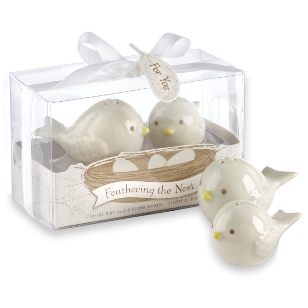 Image of 12ct Feathering the Nest Ceramic Birds Salt & Pepper Shakers, White