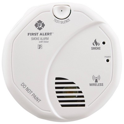 First Alert Battery Operated Interconnected Wireless Smoke Alarm with Voice Location Dectector White