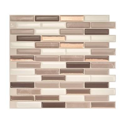 "Smart Tiles 3D Peel and Stick Backsplash 4 Sheets of 10.20"" x 9"" Kitchen and Bathroom Wallpaper Milenza Andrea"