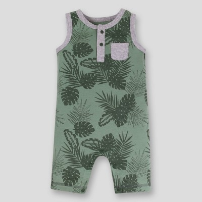 Lamaze Baby Boys' Leaves Sleeveless Organic Cotton Romper - Green Newborn