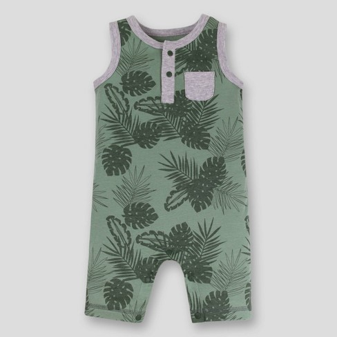 Lamaze Baby Boys' Leaves Sleeveless Organic Cotton Romper - Green - image 1 of 3