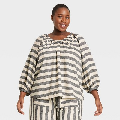 Women's Striped Balloon 3/4 Sleeve Top - Who What Wear™ Gray/White