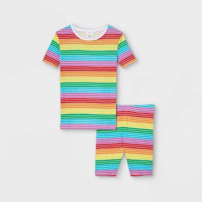 Kids' Pride Striped Matching Family Pajama Set - Rainbow