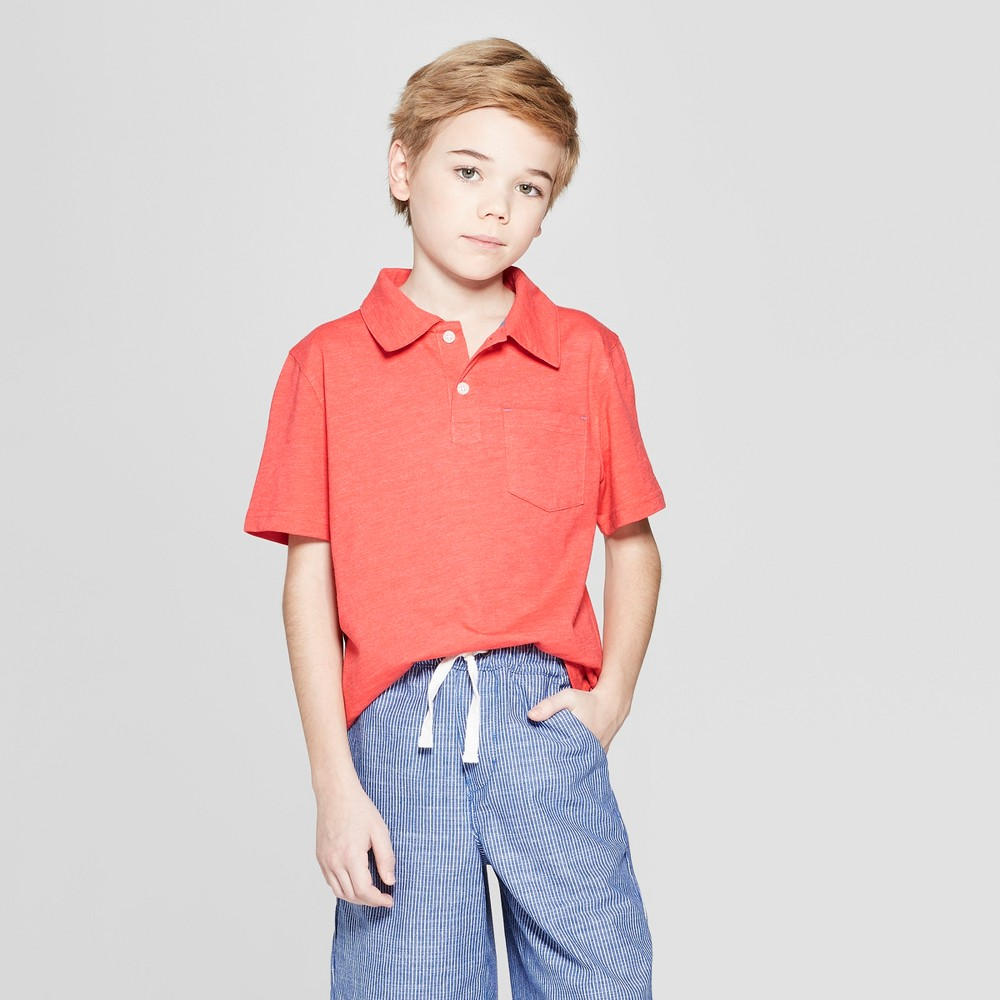 Boys' Short Sleeve Slub Knit Polo Shirt - Cat & Jack Red M