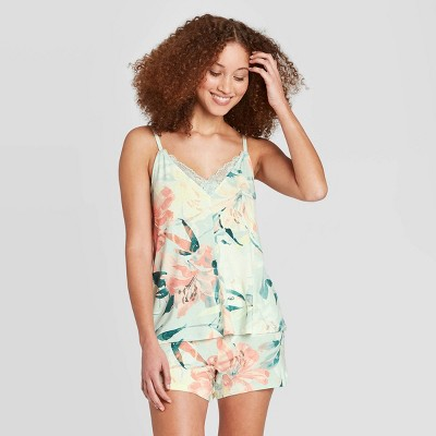 Women's Floral Print Beautifully Soft Cami and Shorts Pajama Set - Stars Above™ Mint S