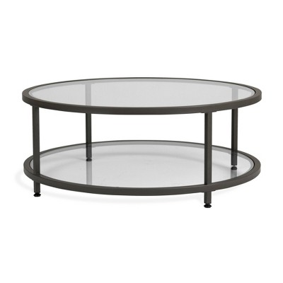 "38"" Camber Modern Glass Round Coffee Table - Studio Designs"