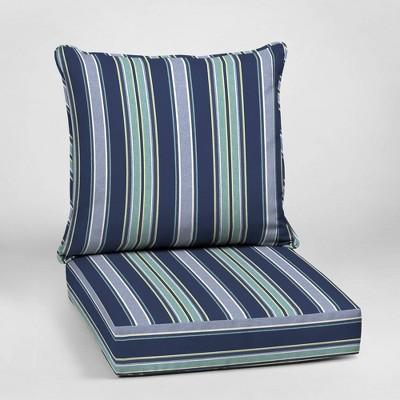 Aurora Stripe Deep Seat Outdoor Cushion Set Sapphire - Arden Selections