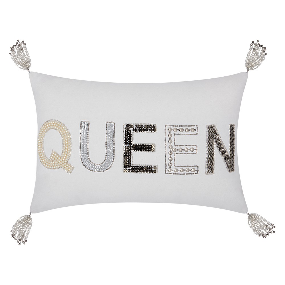 Image of Beaded Queen Throw Pillow White - Mina Victory