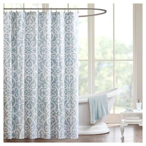 Swirls Shower Curtain Aqua - image 1 of 1