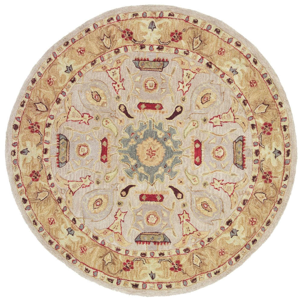 8' Tufted Floral Round Area Rug Ivory/Gold - Safavieh Product Image