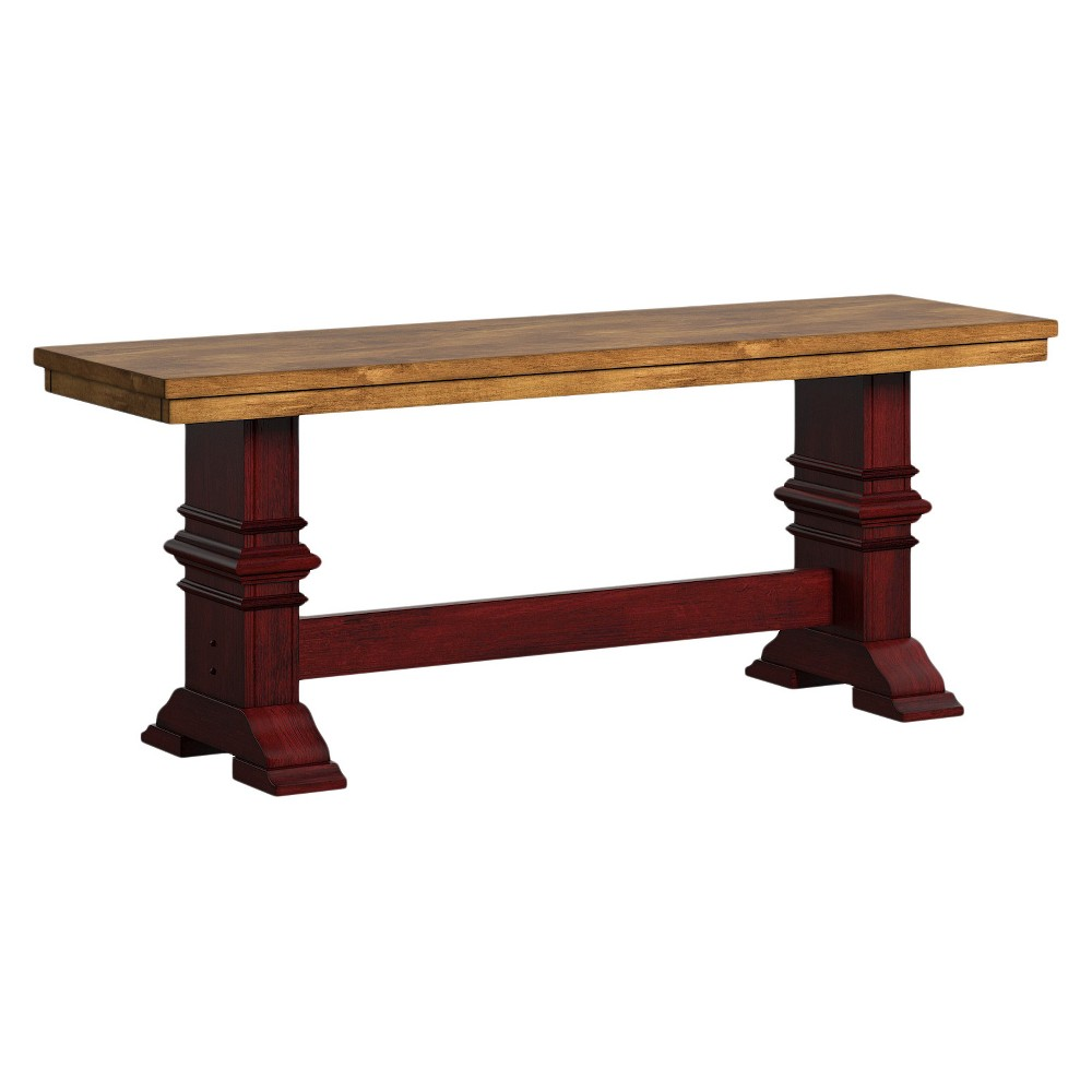 South Hil Baluster Base Bench Berry Red - Inspire Q