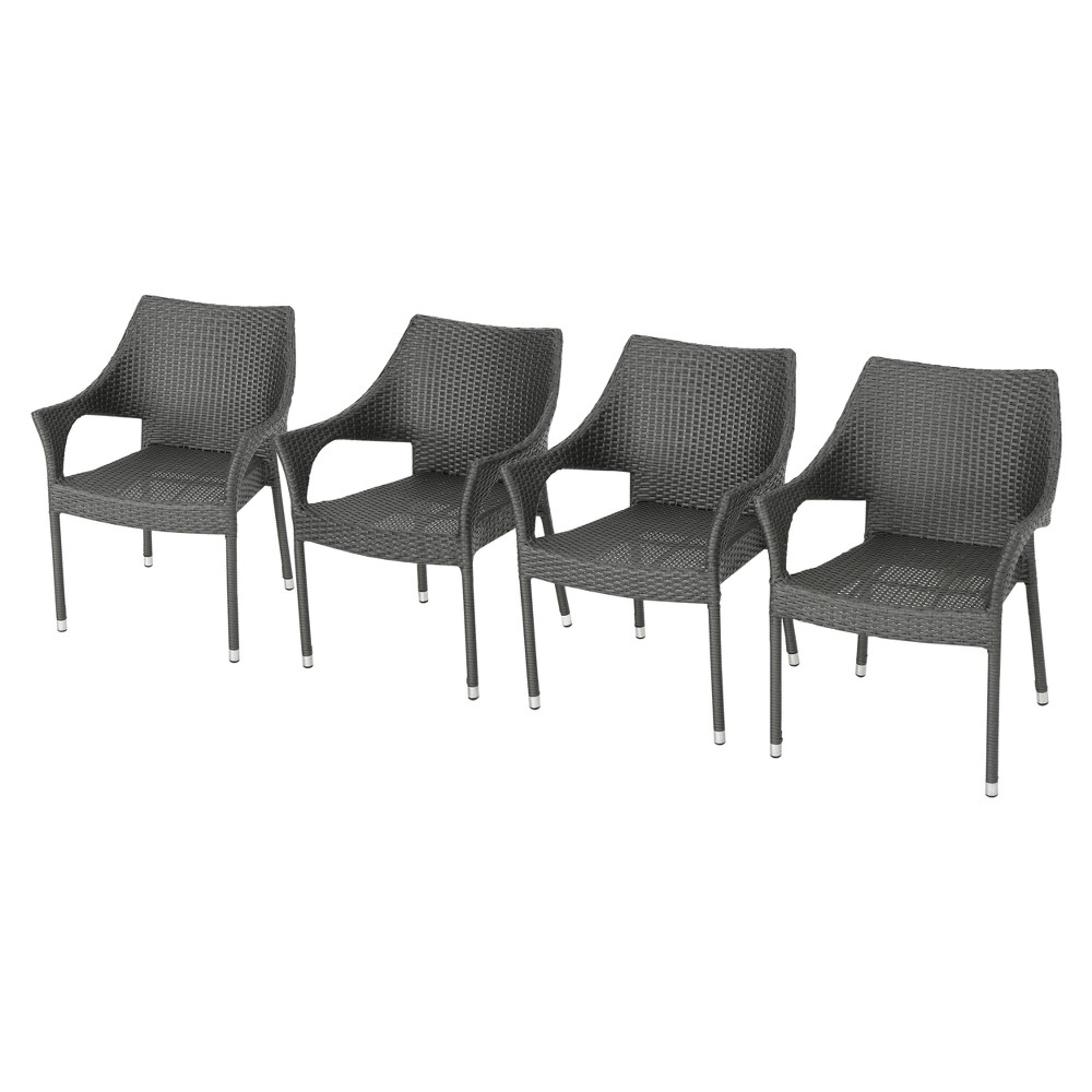 Mirage 4pk Wicker Stacking Chairs - Gray - Christopher Knight Home