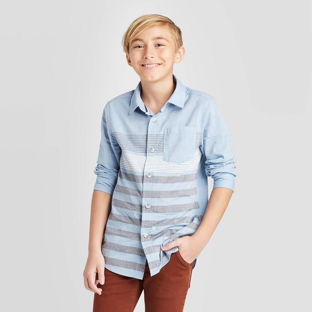 Image of Boys' Long Sleeve Striped Button-Down Shirt - Cat & Jack Light Blue/Gray XL, Boy's