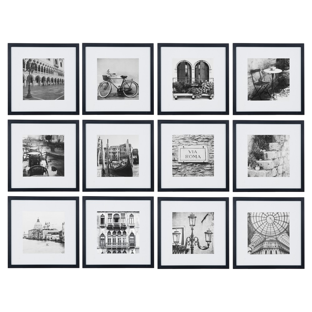"Image of ""12 Piece 12""""X12"""" Black Frame Kit, Matted To 8""""X8"""" - Gallery Perfect"""