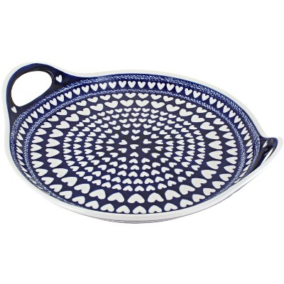 Blue Rose Polish Pottery Valentina Round Serving Tray with Handles